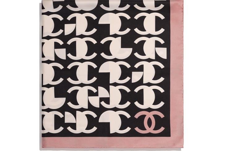 image 2 - スカーフ - シルク ツイル - ピンク & ブラック