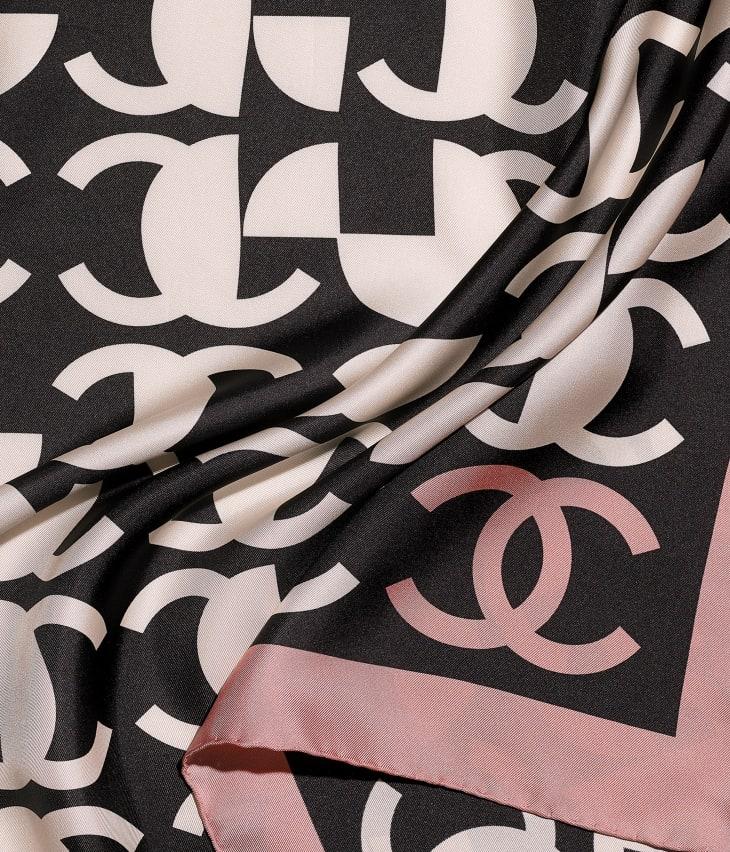 image 1 - Square Scarf - Silk Twill - Pink & Black