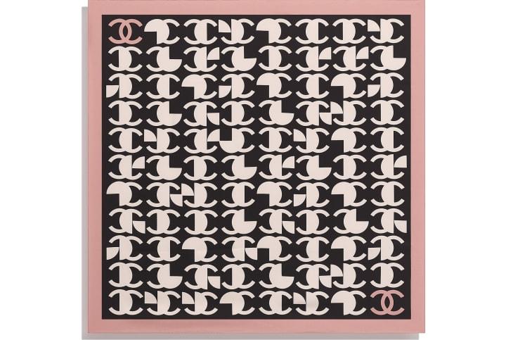 image 3 - スカーフ - シルク ツイル - ピンク & ブラック