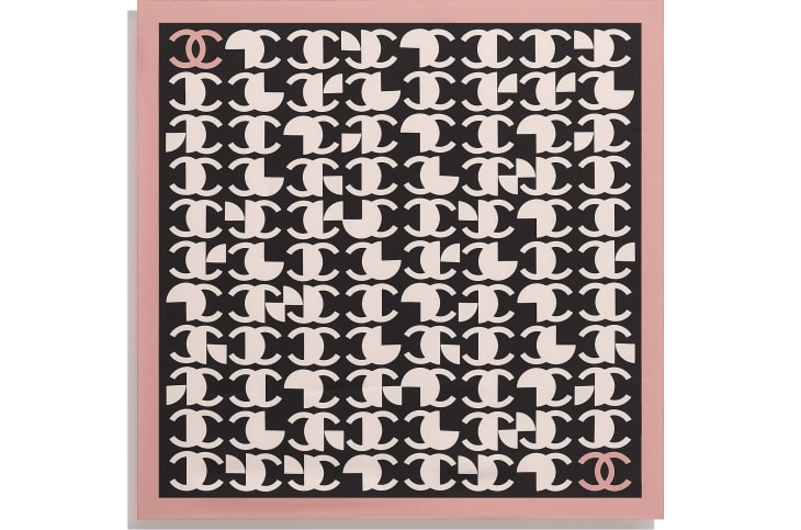 image 3 - Square Scarf - Silk Twill - Pink & Black