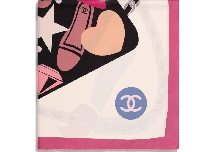 image 2 - Square Scarf - Silk Twill - Pink, Ecru & Black
