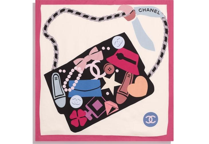 image 3 - Square Scarf - Silk Twill - Pink, Ecru & Black