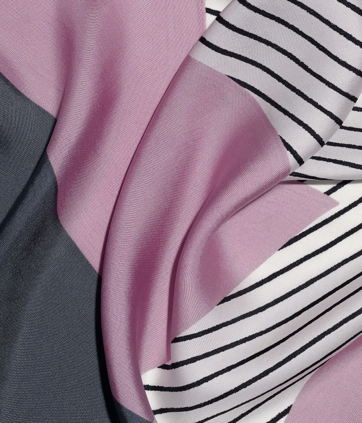 image 1 - Square Scarf - Silk Twill - Pink, Gray & Beige
