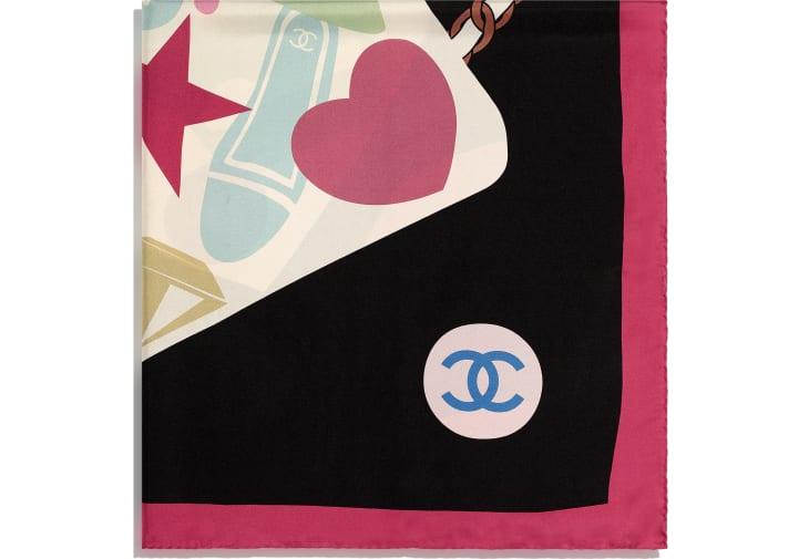 image 2 - スカーフ - シルク ツイル - レッド、ブラック & エクリュ