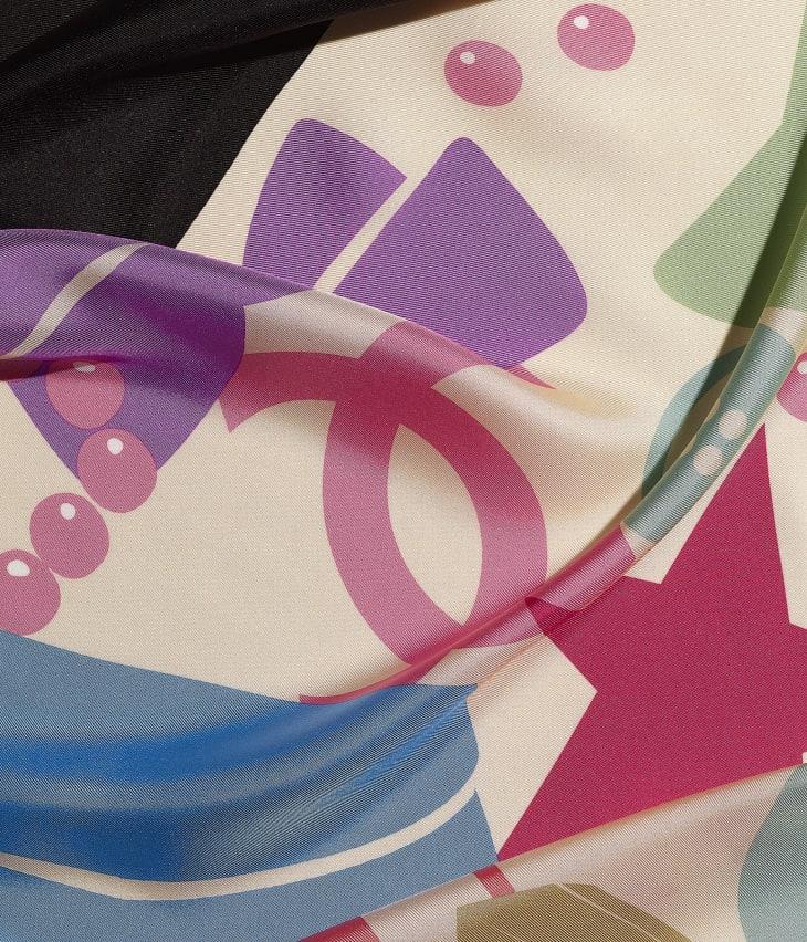 image 1 - スカーフ - シルク ツイル - レッド、ブラック & エクリュ