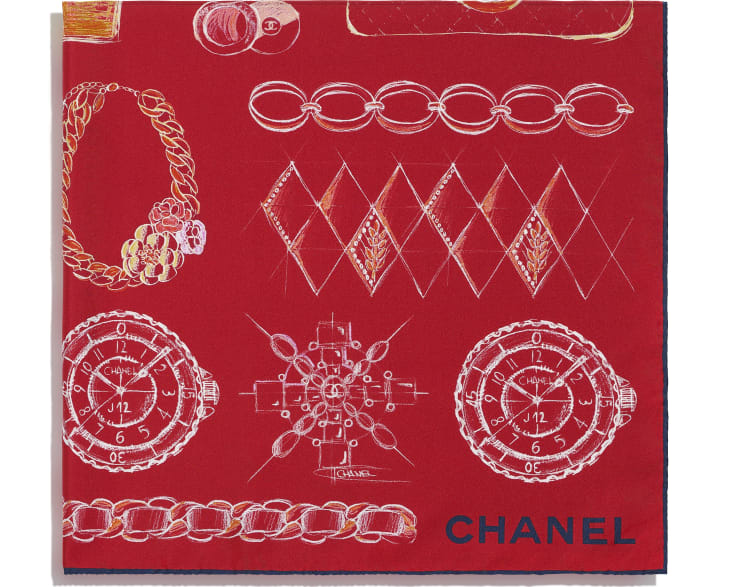 image 2 - Square Scarf - Silk Twill - Red & Blue