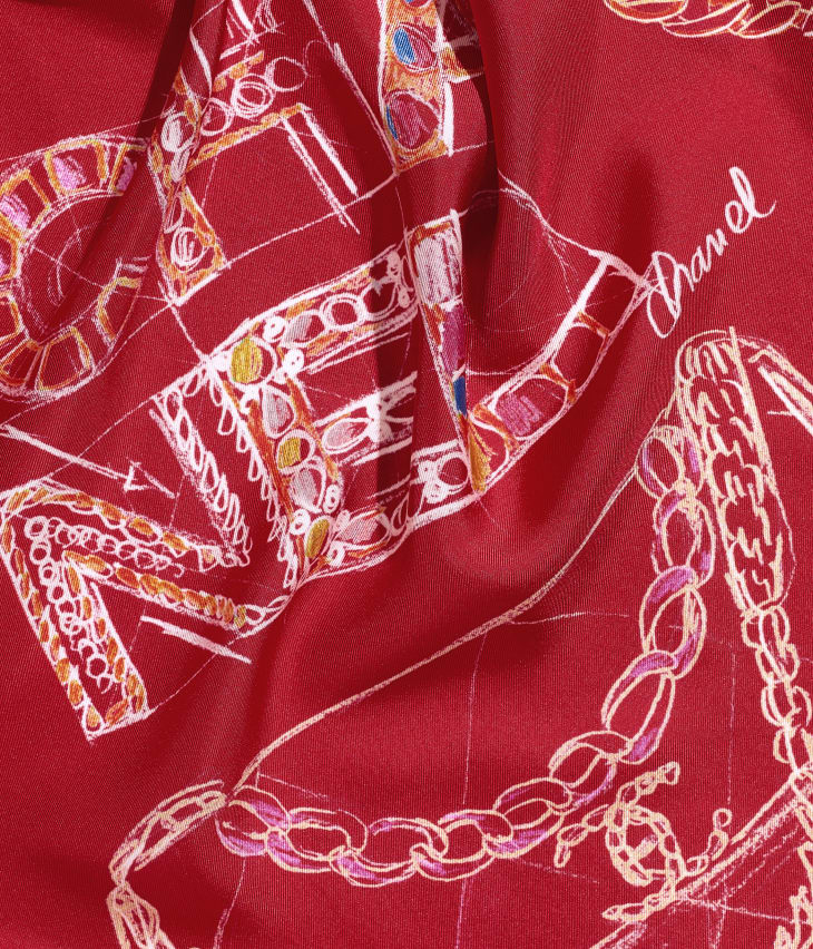 image 1 - Square Scarf - Silk Twill - Red & Blue