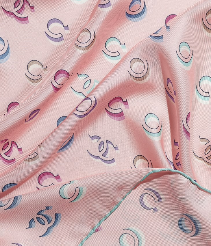 image 1 - Square Scarf - Silk Twill - Turquoise & Pink