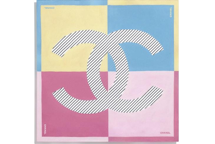 image 3 - スカーフ - シルク ツイル - イエロー、ブルー & ピンク