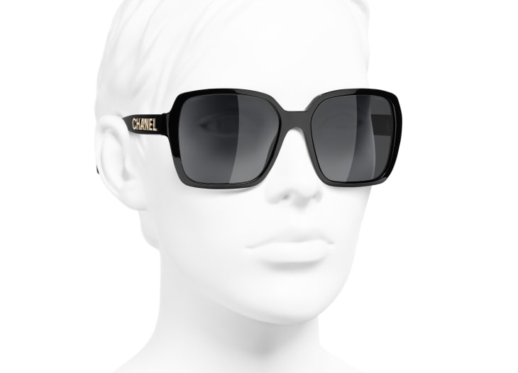 image 6 - Square Sunglasses - Acetate - Black