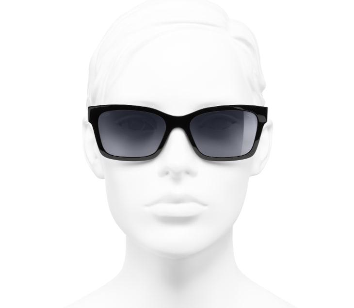 image 5 - Óculos De Sol Quadrado - Acetato - Preto