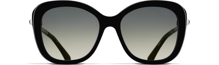 image 2 - Square Sunglasses - Acetate & Imitation Pearls - Black