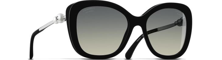 image 1 - Square Sunglasses - Acetate & Imitation Pearls - Black