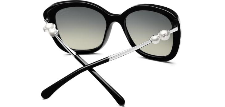 image 4 - Square Sunglasses - Acetate & Imitation Pearls - Black