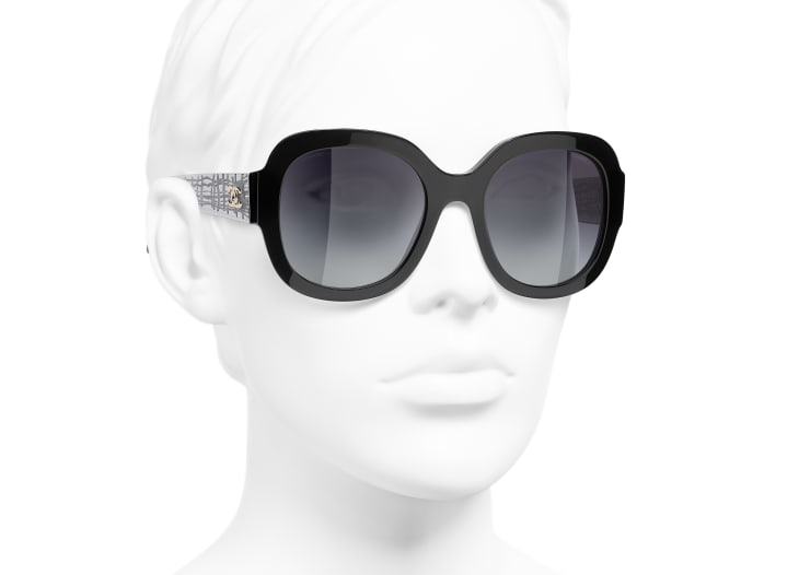 image 6 - Óculos De Sol Quadrado - Acetato & Metal - Preto
