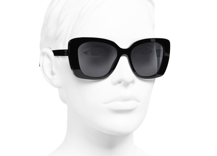image 6 - Square Sunglasses - Acetate & Strass - Black
