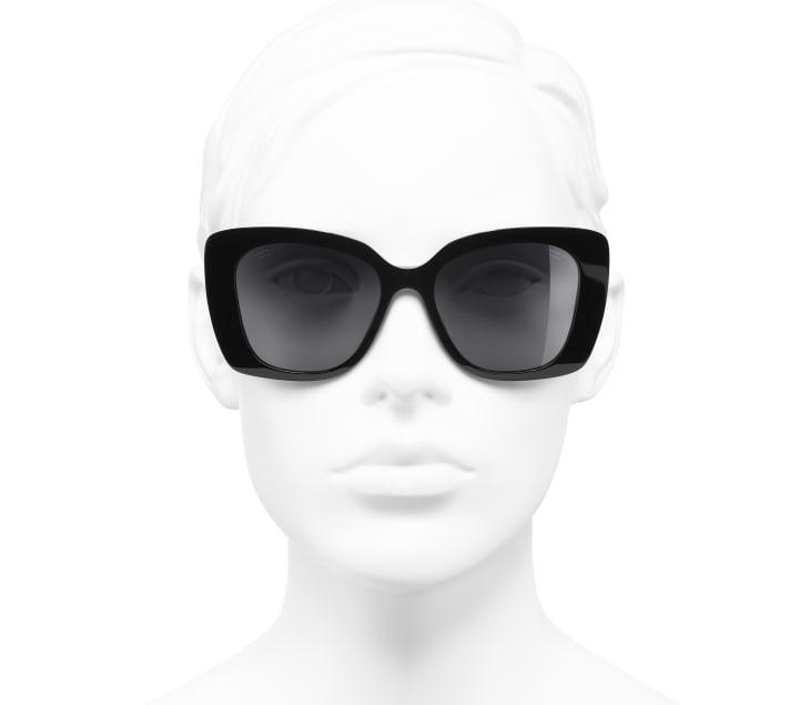 image 5 - Square Sunglasses - Acetate & Strass - Black