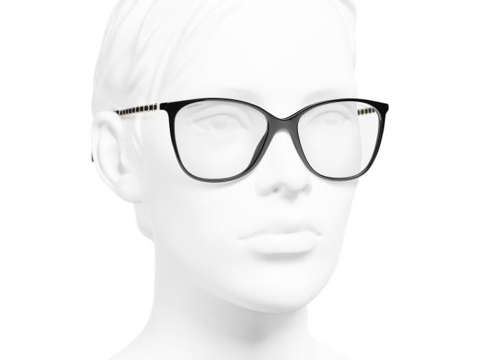 image 6 - Óculos De Sol Quadrado - Metal & Couro De Novilho - Preto & Dourado