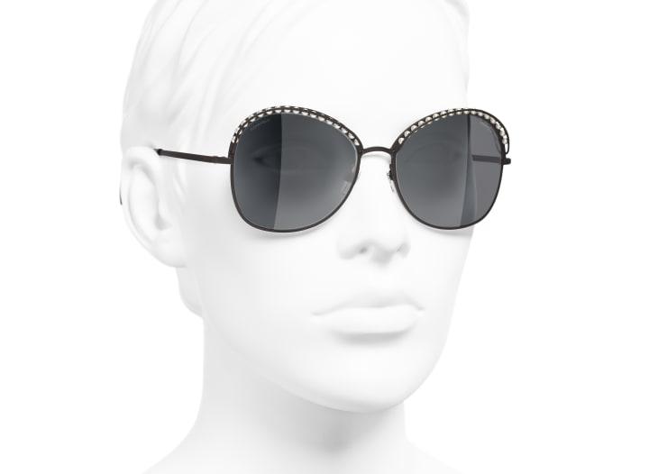 image 6 - Square Sunglasses - Metal & Imitation Pearls - Brown