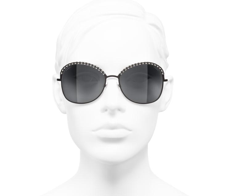 image 5 - Square Sunglasses - Metal & Imitation Pearls - Brown