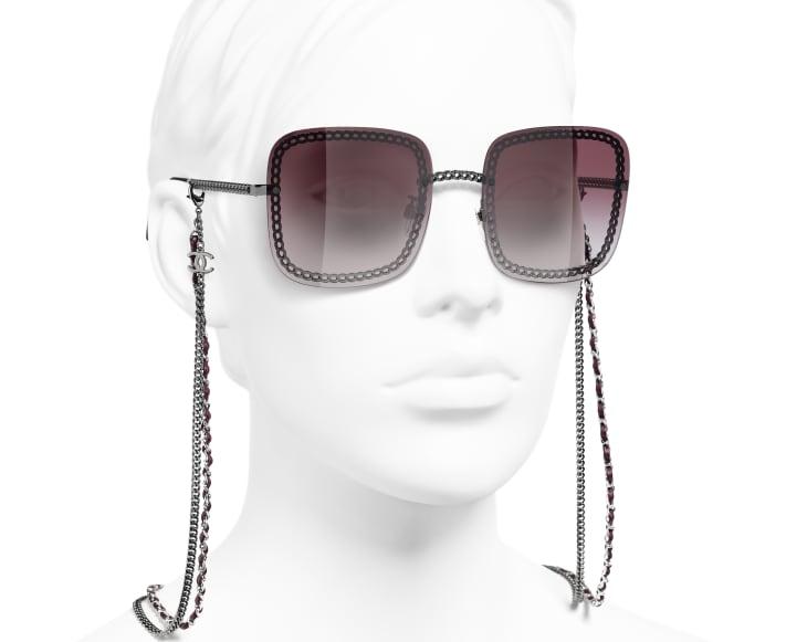 image 6 - Square Sunglasses - Metal & Calfskin - Dark Silver