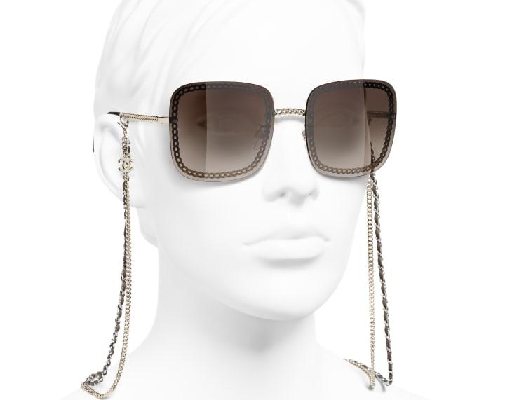 image 6 - Óculos De Sol Quadrado - Metal & Couro De Novilho - Dourado
