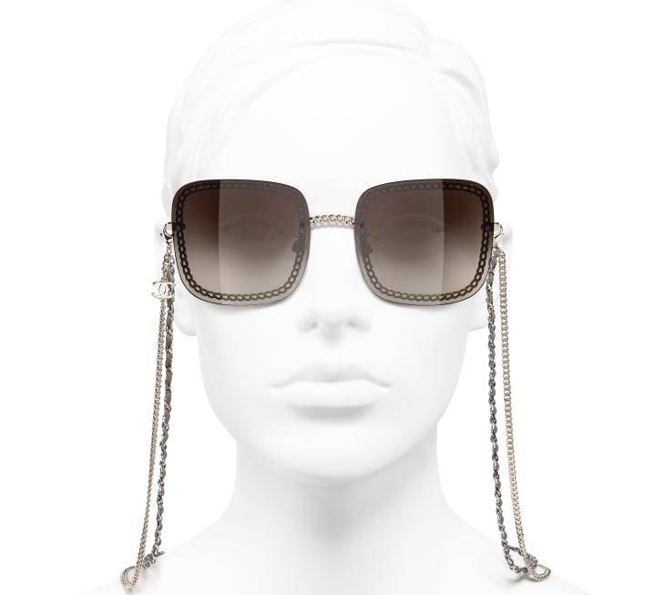 image 5 - Óculos De Sol Quadrado - Metal & Couro De Novilho - Dourado