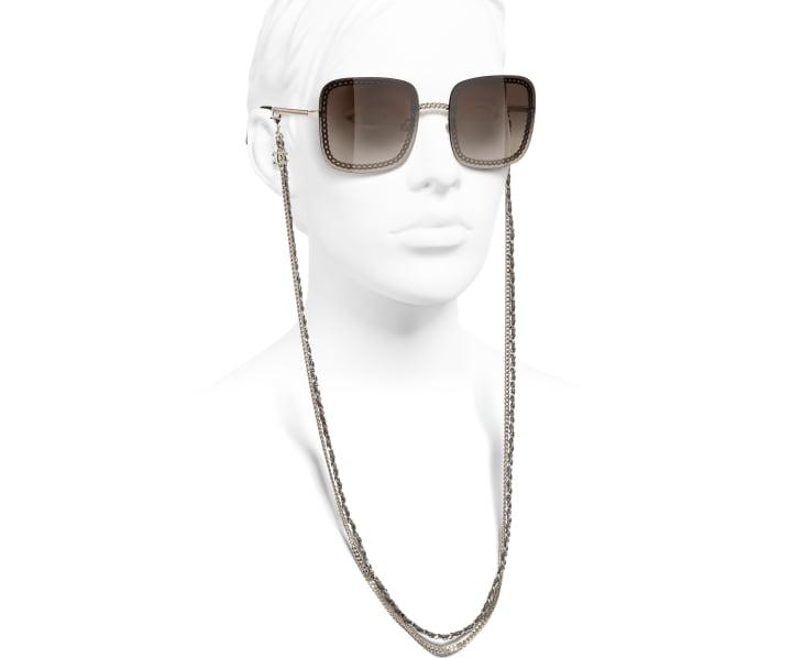image 7 - Óculos De Sol Quadrado - Metal & Couro De Novilho - Dourado