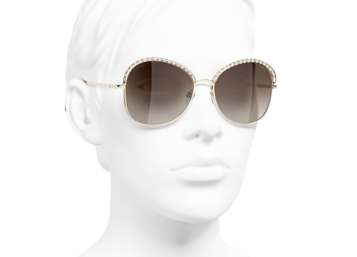 image 6 - Square Sunglasses - Metal & Imitation Pearls - Gold