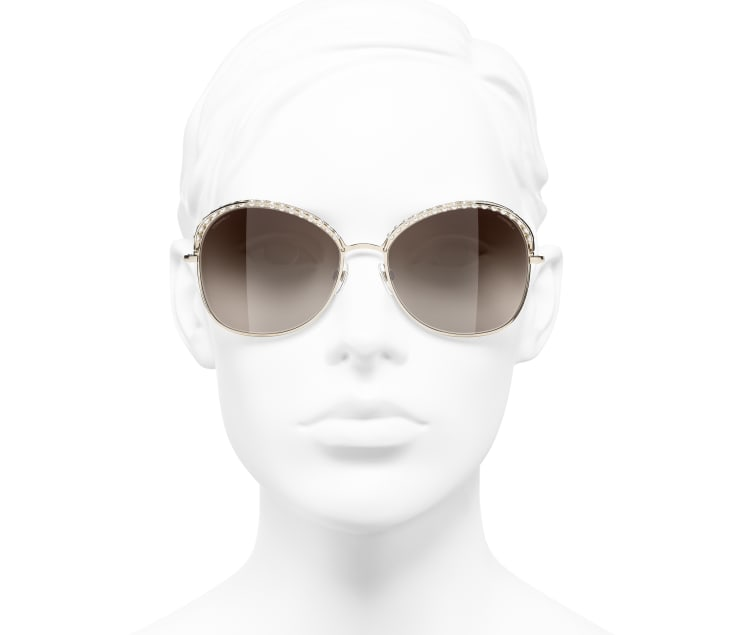 image 5 - Square Sunglasses - Metal & Imitation Pearls - Gold