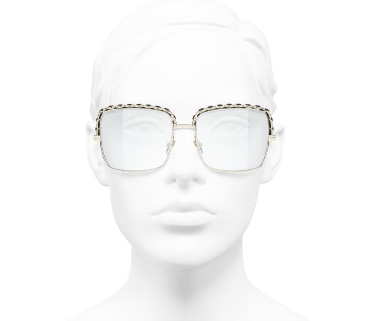 image 5 - Óculos De Sol Quadrado - Metal & Couro De Cordeiro - Dourado