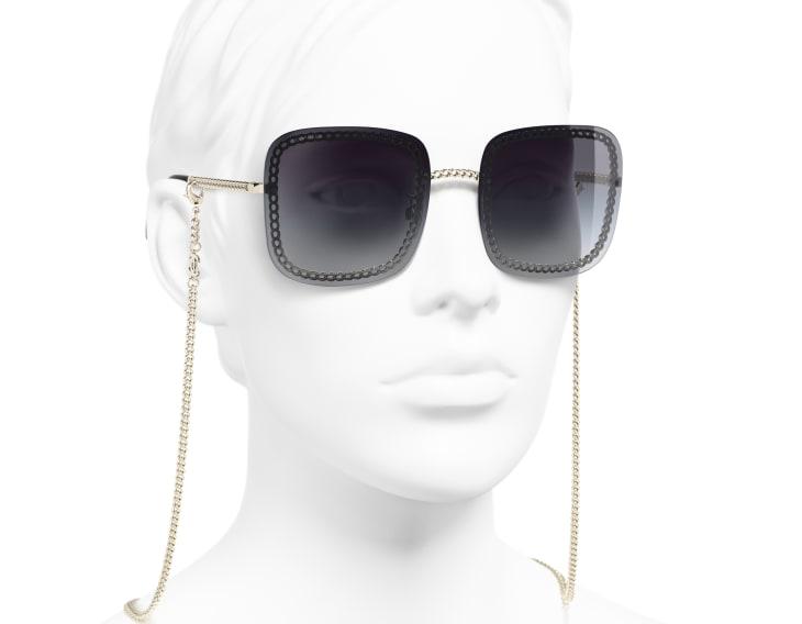 image 6 - Óculos De Sol Quadrado - Metal - Dourado