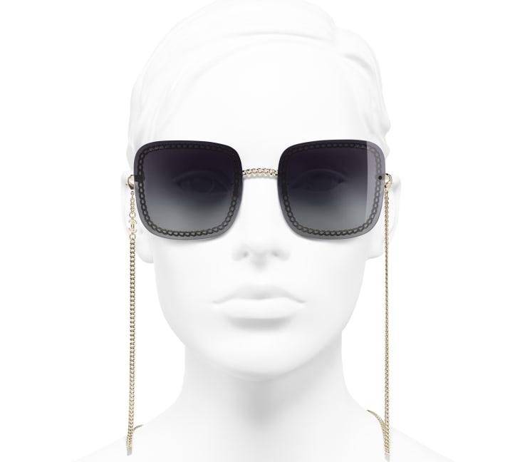 image 5 - Óculos De Sol Quadrado - Metal - Dourado