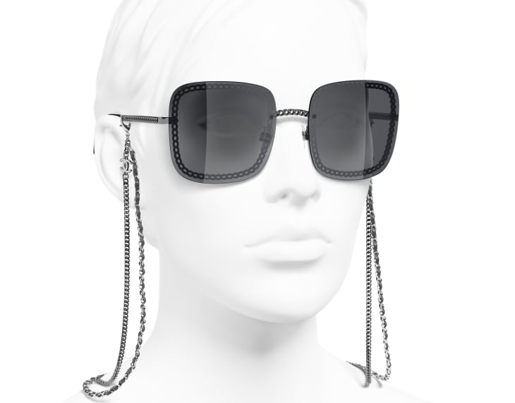 image 6 - Óculos De Sol Quadrado - Metal & Couro De Novilho - Prata