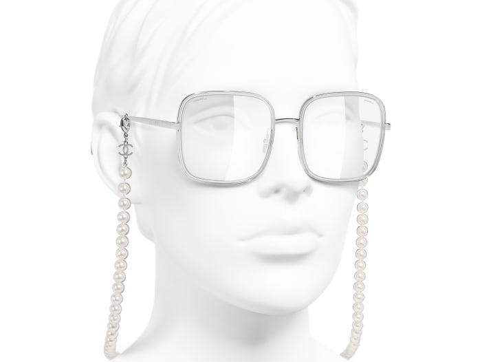 image 6 - Square Sunglasses - Metal, Resin & Glass Pearls - Silver
