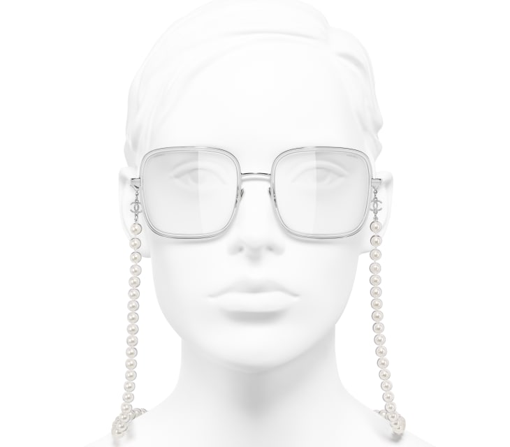 image 5 - Square Sunglasses - Metal, Resin & Glass Pearls - Silver