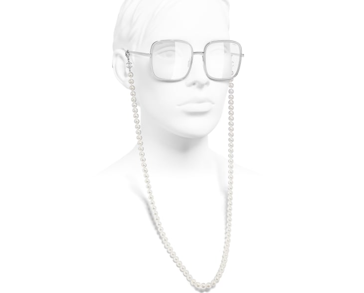 image 7 - Square Sunglasses - Metal, Resin & Glass Pearls - Silver