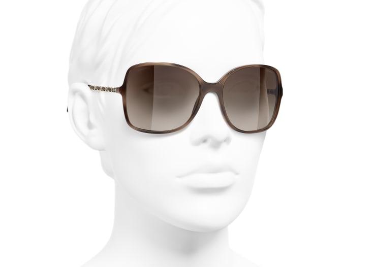 image 6 - Square Sunglasses - Acetate & Lambskin - Tortoise