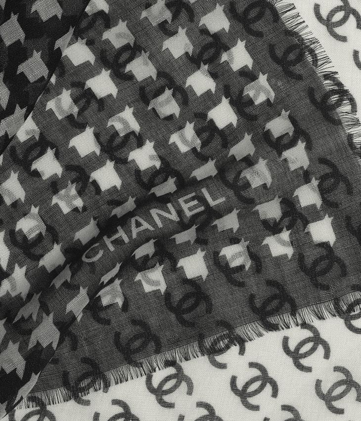 image 1 - Étole - Cachemire & soie - Noir & écru