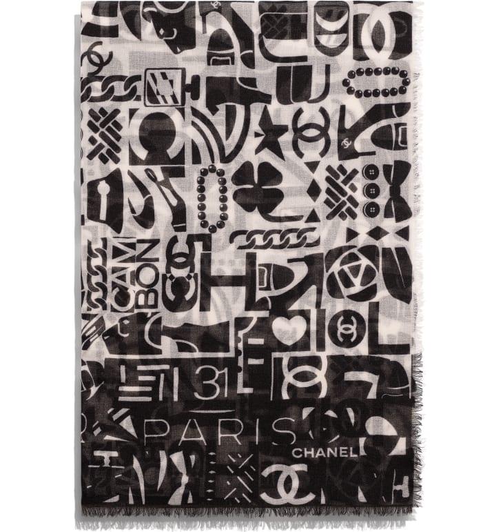 image 2 - ストール - カシミヤ - ブラック & ホワイト
