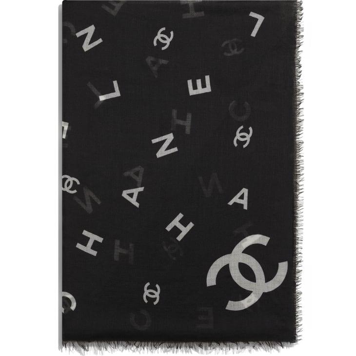 image 2 - Stole - Cashmere - Black & White