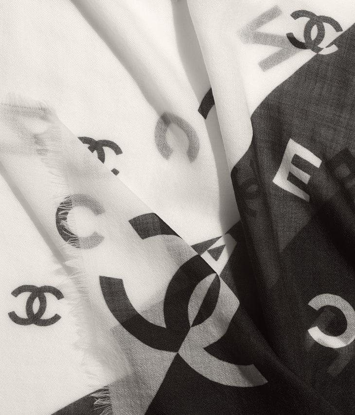 image 1 - Stole - Cashmere - Black & White