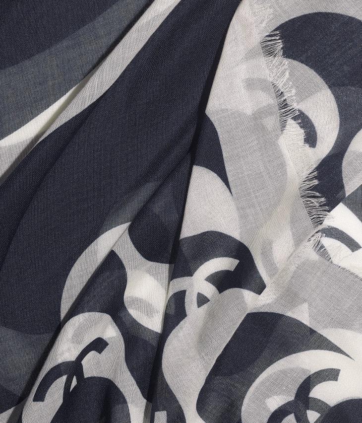 image 1 - Étole - Cachemire & soie - Écru & bleu marine
