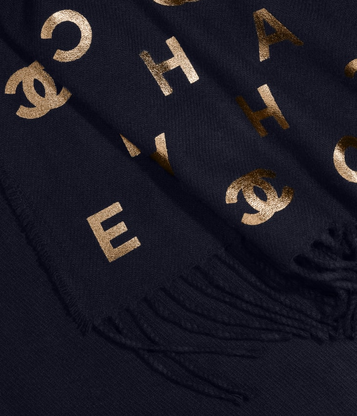 image 1 - Stole - Wool & Cashmere - Navy Blue & Gold