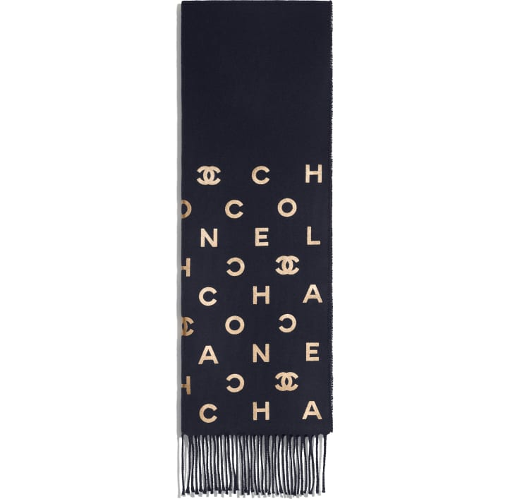 image 2 - Stole - Wool & Cashmere - Navy Blue & Gold