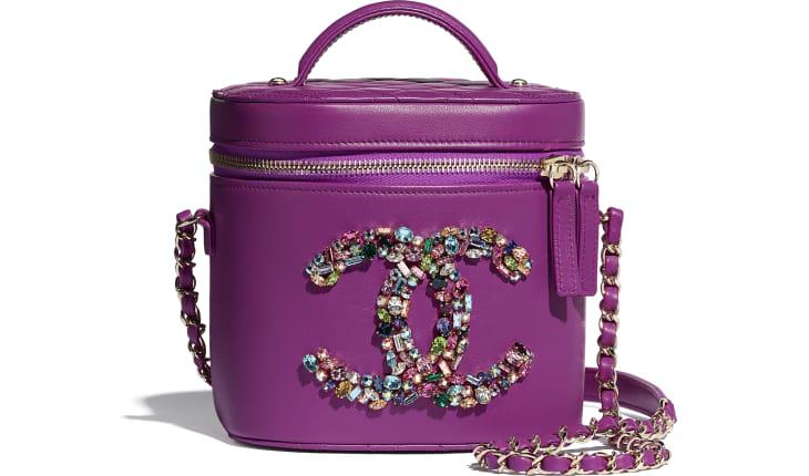 image 1 - Vanity Case - Lambskin, Crystal, Calfskin & Gold-Tone Metal - Purple