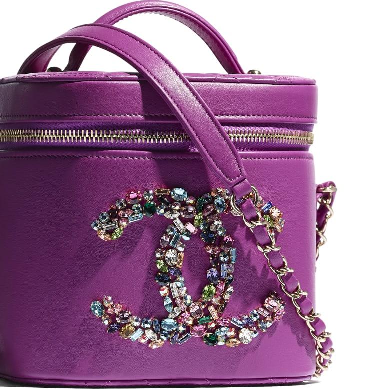 image 4 - Vanity Case - Lambskin, Crystal, Calfskin & Gold-Tone Metal - Purple