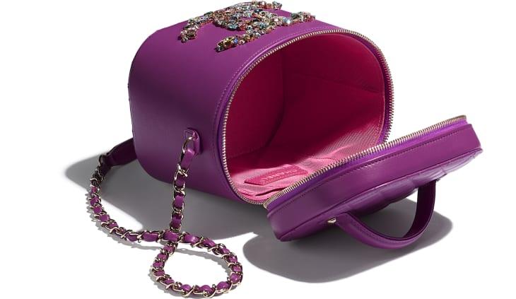 image 3 - Vanity Case - Lambskin, Crystal, Calfskin & Gold-Tone Metal - Purple