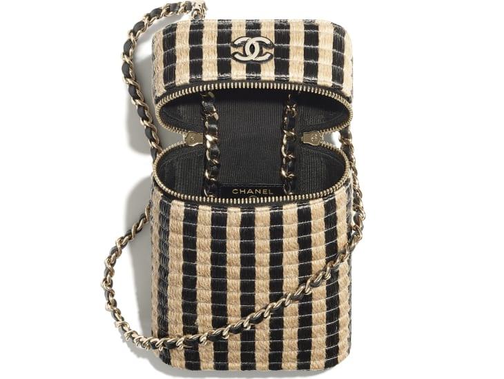 image 2 - Vanity Phone Holder with Chain - Raffia, Jute Thread & Gold-Tone Metal - Black & Beige