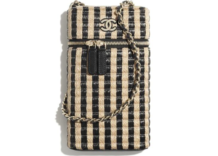 image 1 - Vanity Phone Holder with Chain - Raffia, Jute Thread & Gold-Tone Metal - Black & Beige